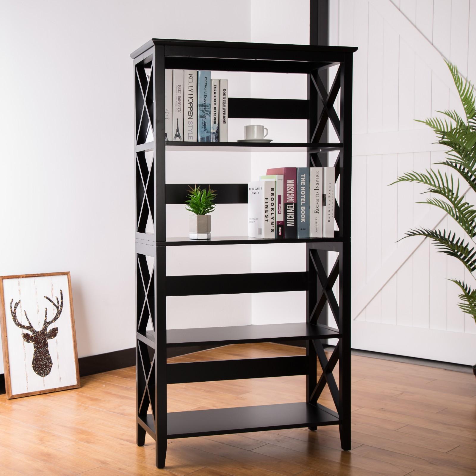 5 Tier Traditional Espresso X Frame Bookshelf