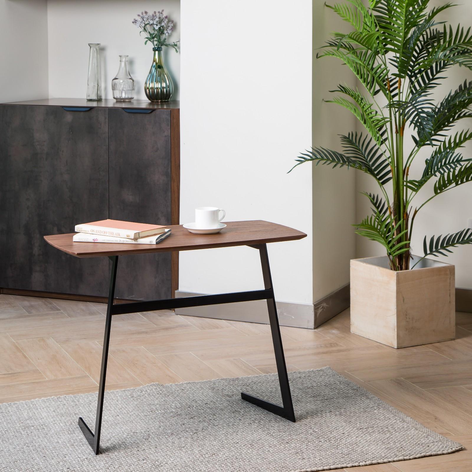 胡桃木咖啡桌,黑色哑光金属桌腿,拆装