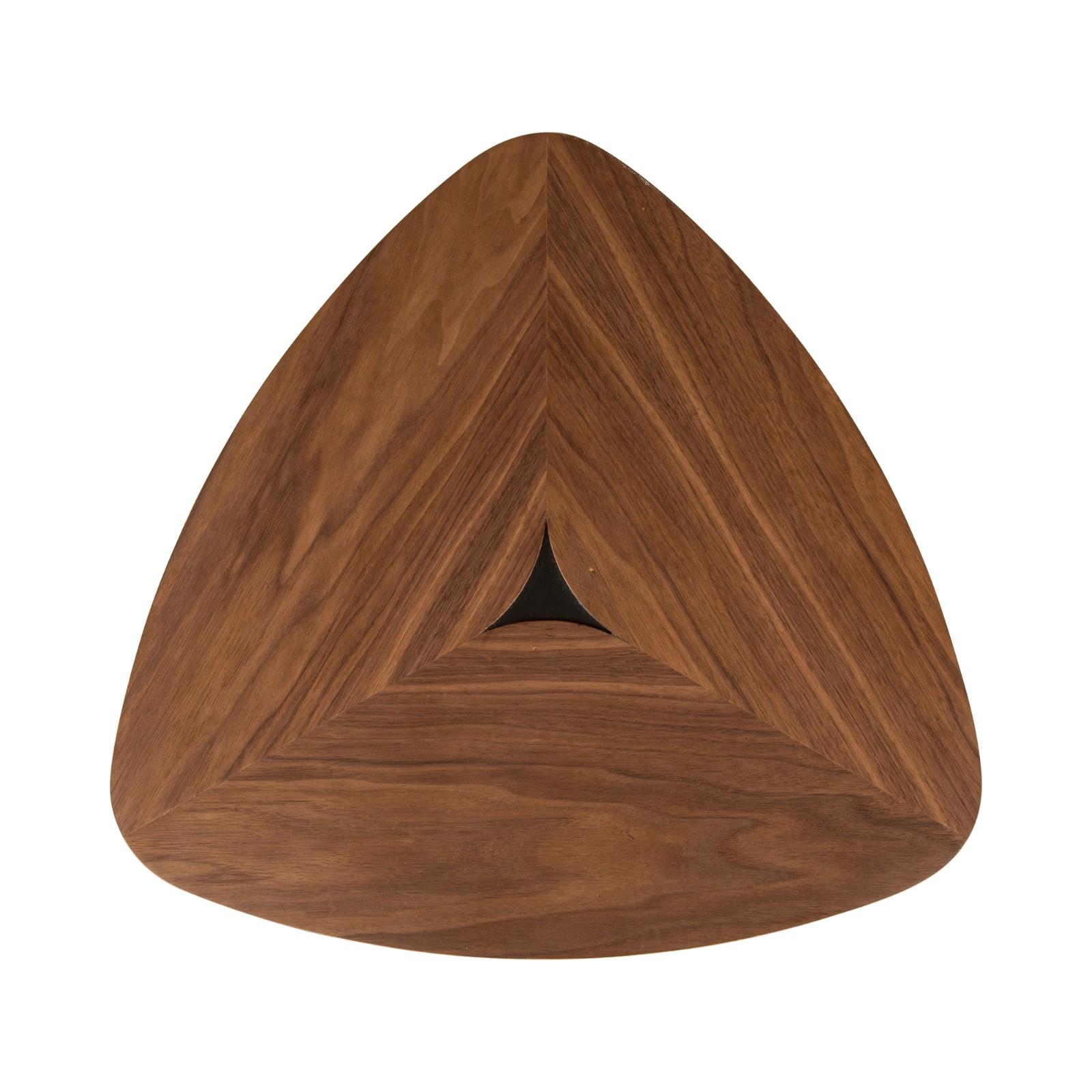 胡桃木边桌,黑色哑光金属桌腿,拆装